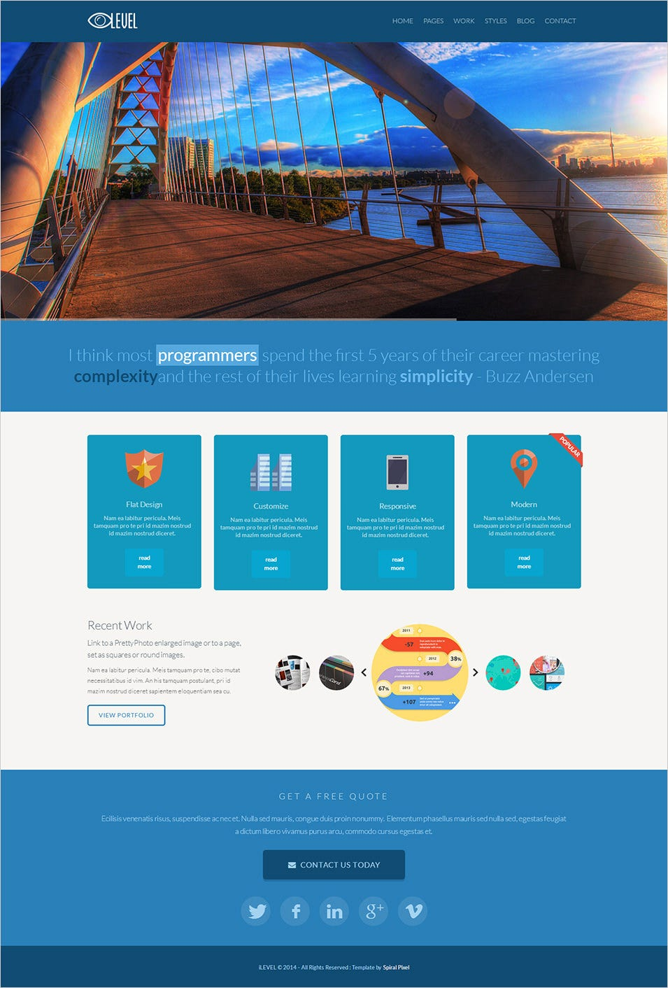 17+ best flat design website templates | free & premium templates