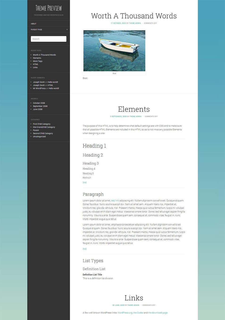 free flat wordpress theme