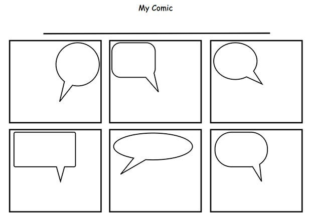 It is an image of Comic Strip Template Printable in diy blank printable