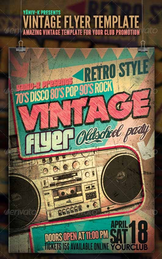 17  stylish vintage flyer templates