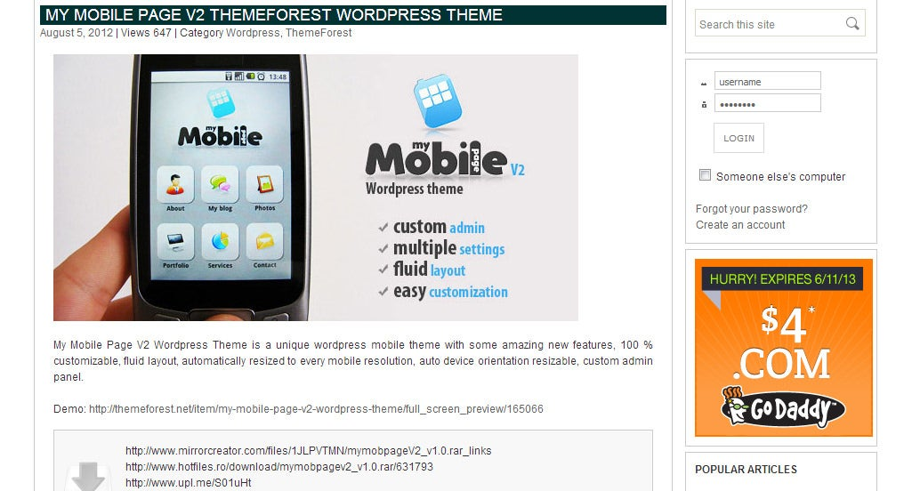 mobile website templates free download