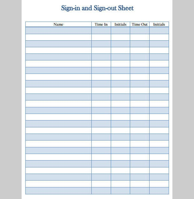 Best Sign In And Sign Out Templates  Free  Premium Templates