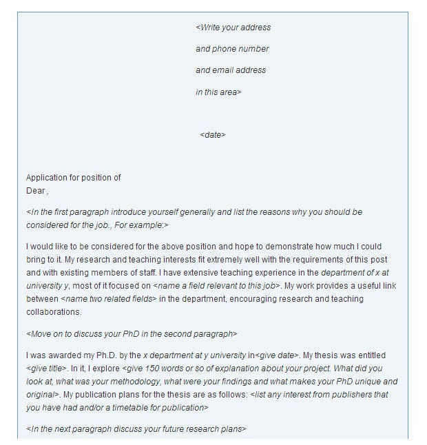 academic cover letter - Best Cover Letter Template