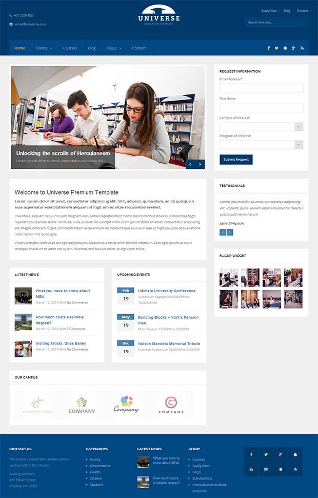 wordpress theme with multiple page templates - 25 best premium school website templates free premium