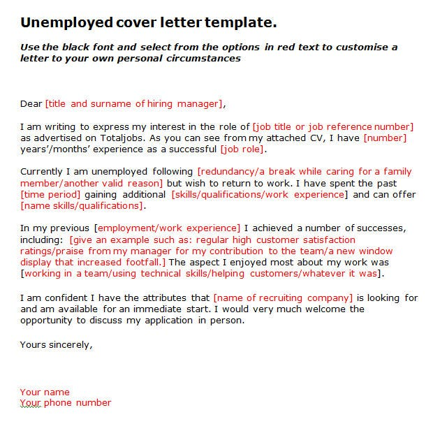 unemployed cover letter. Resume Example. Resume CV Cover Letter