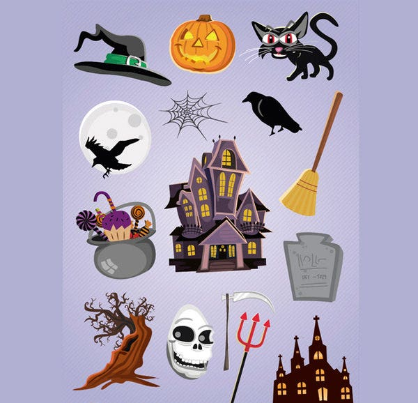 5 horror halloween cartoon elements vectors