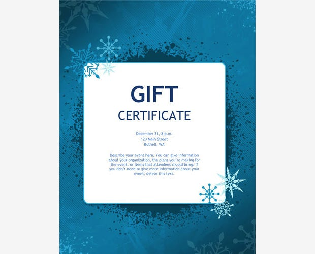5 premium gift certificate free templates free premium templates a blue theme always ensures a gorgeous appeal and this gift card template is no exception if you are planning a gift card for your winter special bonanza yelopaper Gallery
