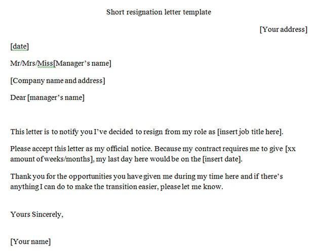 10 best letter of resignation templates free amp premium templates