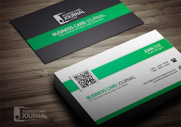 34 best qr code business card examples identity mockups free clean stylish qr code business card template colourmoves Images