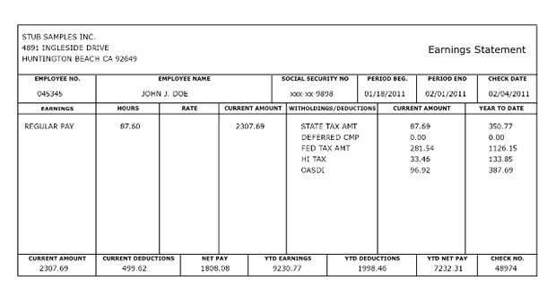 simple pay stub template .
