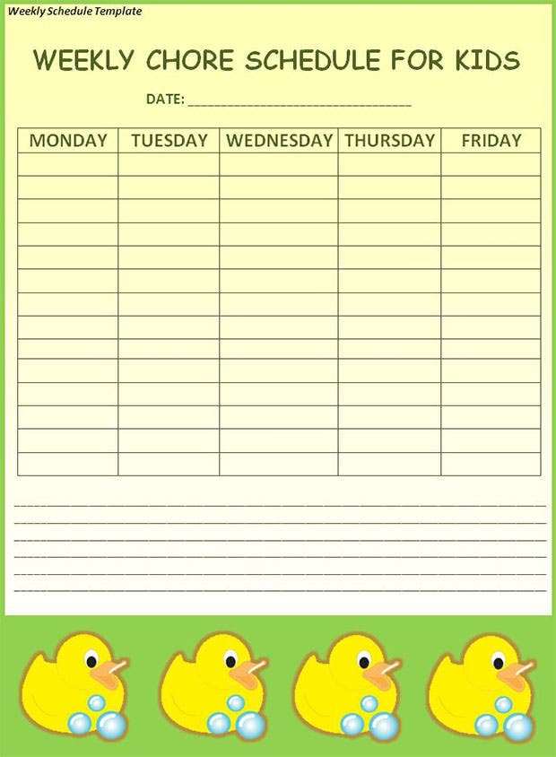 Weekly schedule template 19 free word excel pdf download weekly chore schedule template for kids pronofoot35fo Image collections