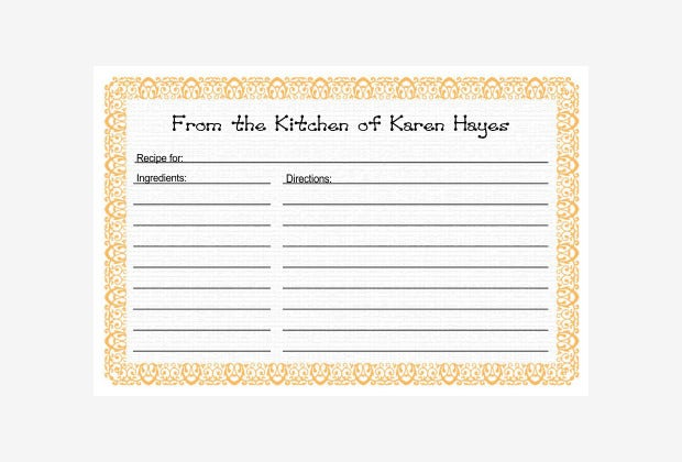 Free Recipe Card Page  Book Templates  Free  Premium Templates