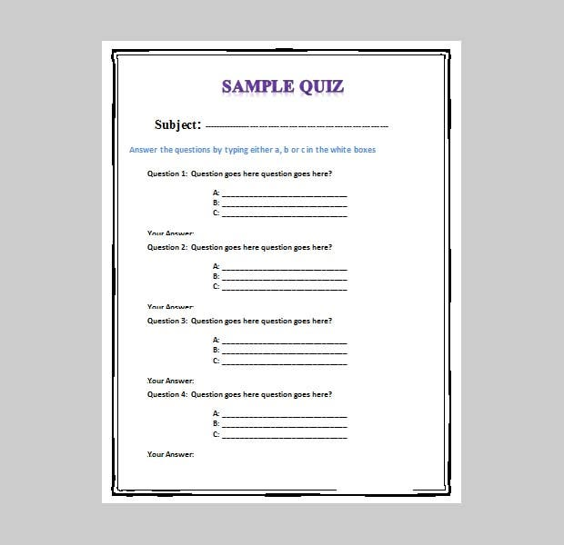 free template for quiz