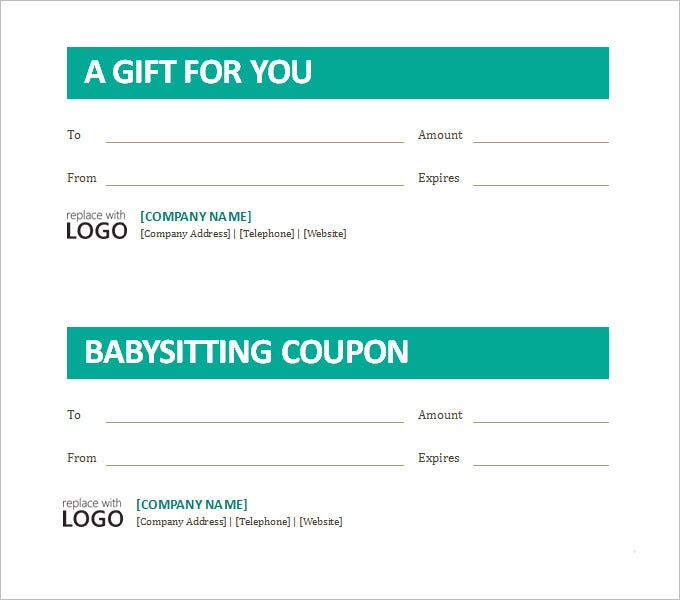 free babysitting coupon template