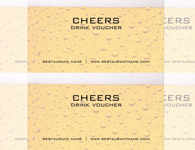 Beer Drink Voucher and Coupon Card Templates