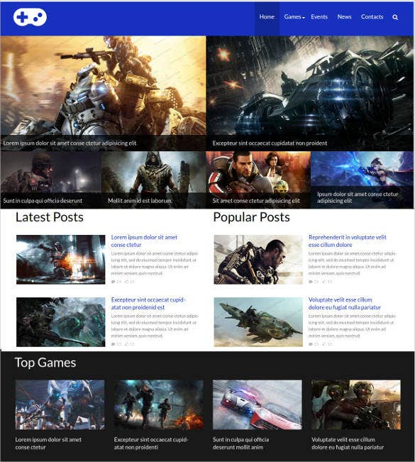 black and white game portal website template