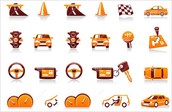 car automotive vector icon set