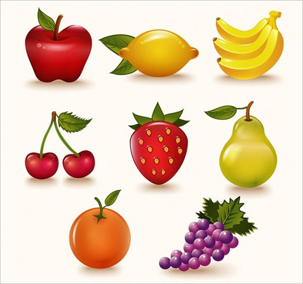 colorful fruits pack vector