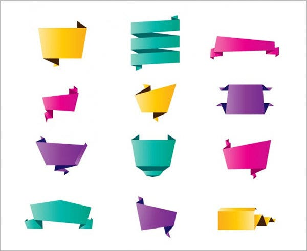 colorful origami vectors pack