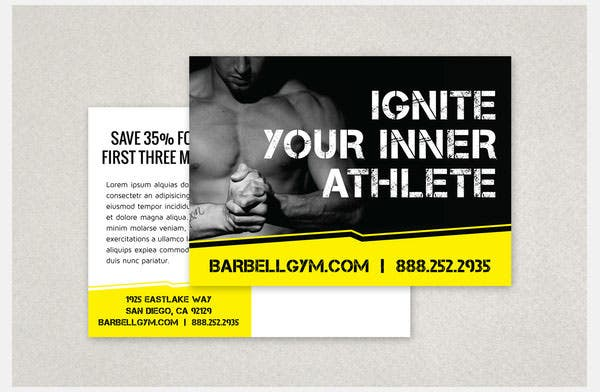 edgy sports fitness postcard