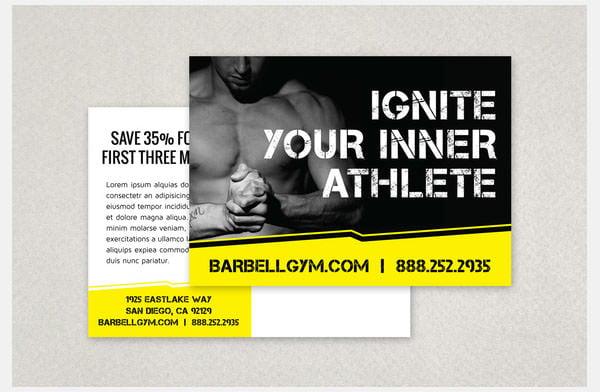 edgy sports fitness postcard