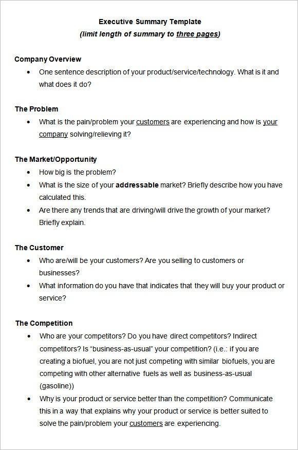 Template Executive Summary Template Templates – Executive Report Template Word