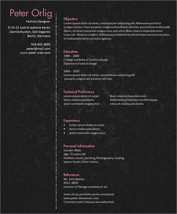 resume design template psd 11 free samples examples format - Fashion Design Resume Template