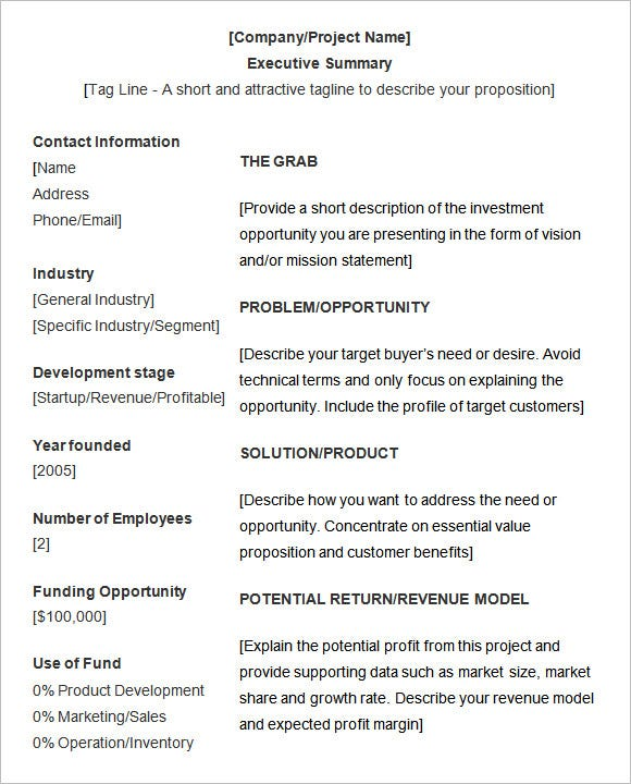 Template Executive Summary Template Templates – Executive Summary Report Template