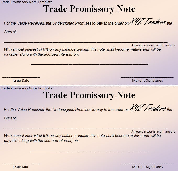 Free Promissory Note Template  Promisary Note Template