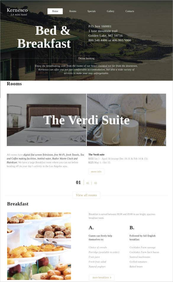 hotels and rooms booking html website template