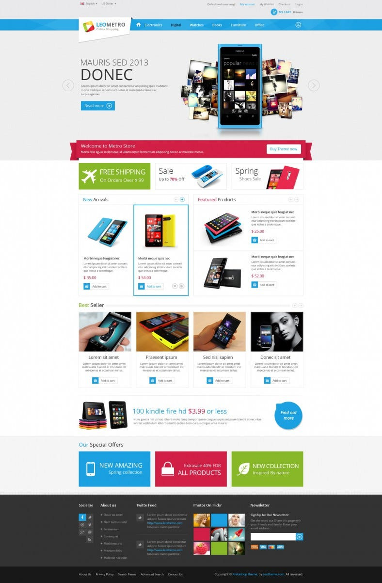 15 best prestashop electronic website templates themes for Presta shop templates