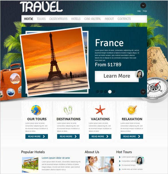 Tourism Website Themes Templates Free Premium Templates - Create web page template