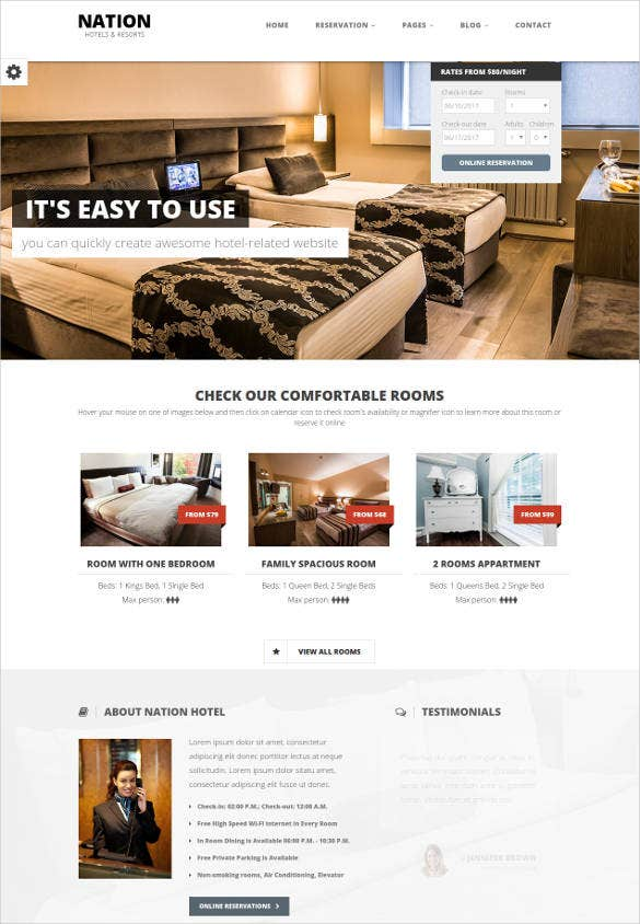 nation hotel wordpress website template