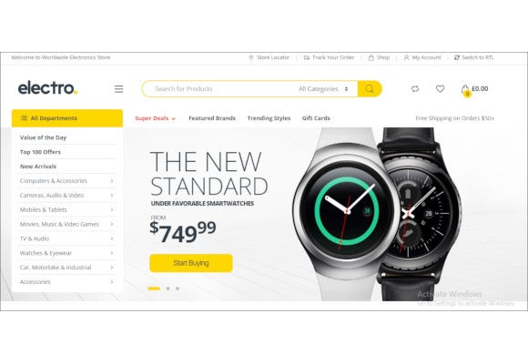 online electronics shop woocommerce theme
