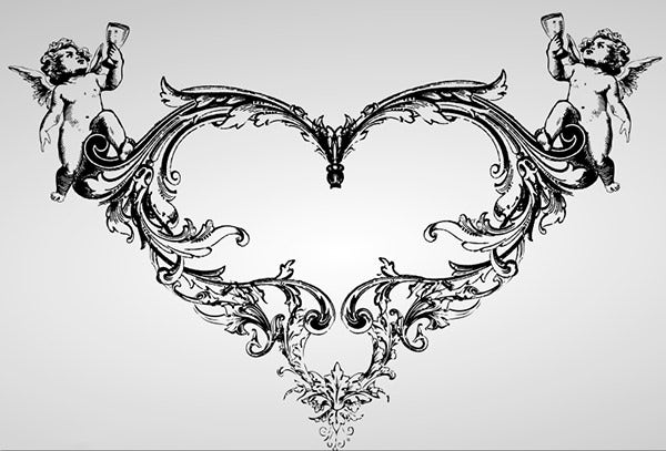 ornate vector heart