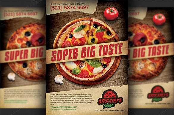 psd advertising flyer for pizza restaurant