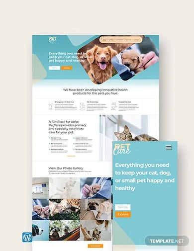 pet care wordpress theme template