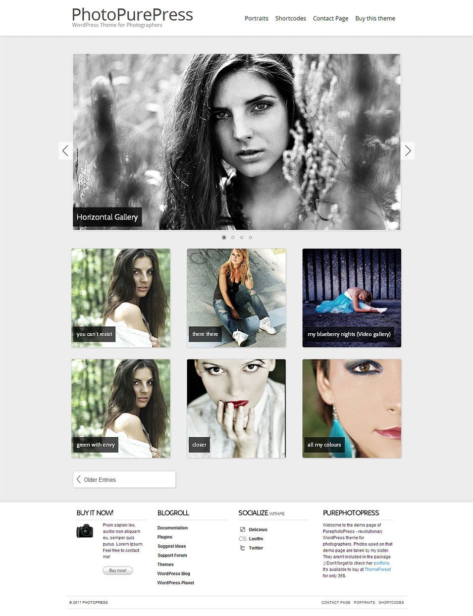 photopurepress wordpress theme for photographers