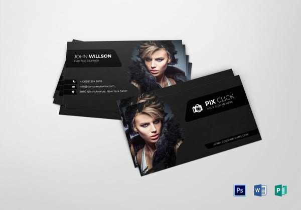 40 excellent black business cards to download free premium photographer business card word template wajeb Images