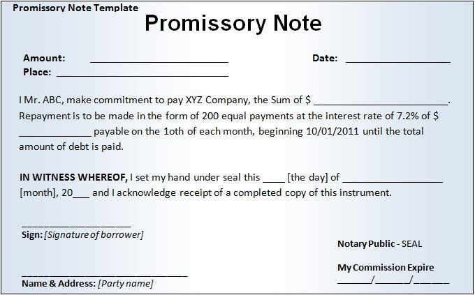 Promissory Note Template – Promisory Note Example