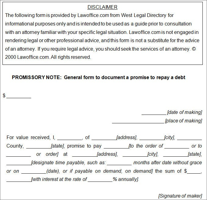 Promissory Note Template – Form of Promissory Note
