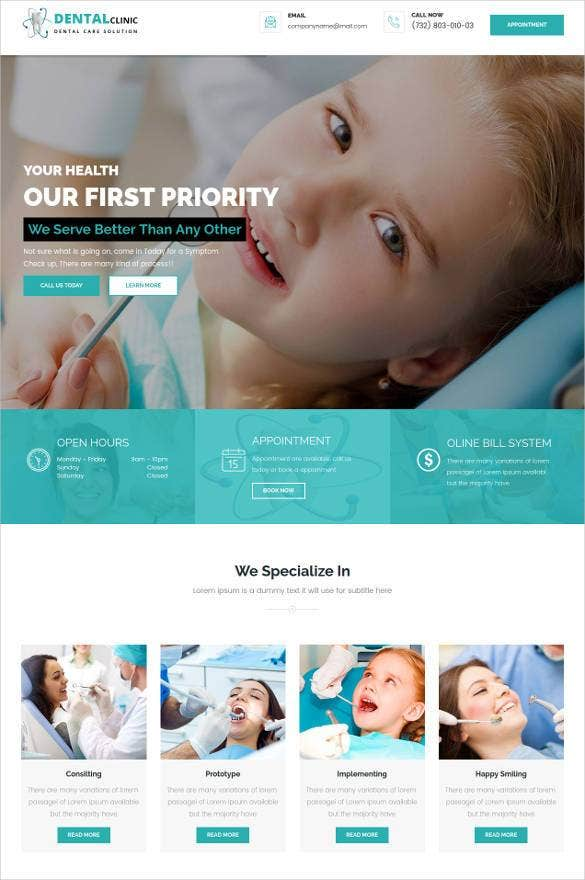 responsive dental website theme1