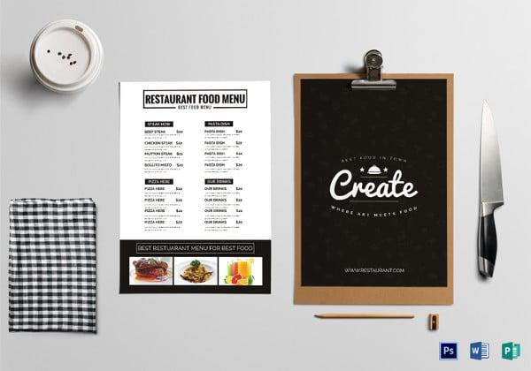 restaurant menu classic template