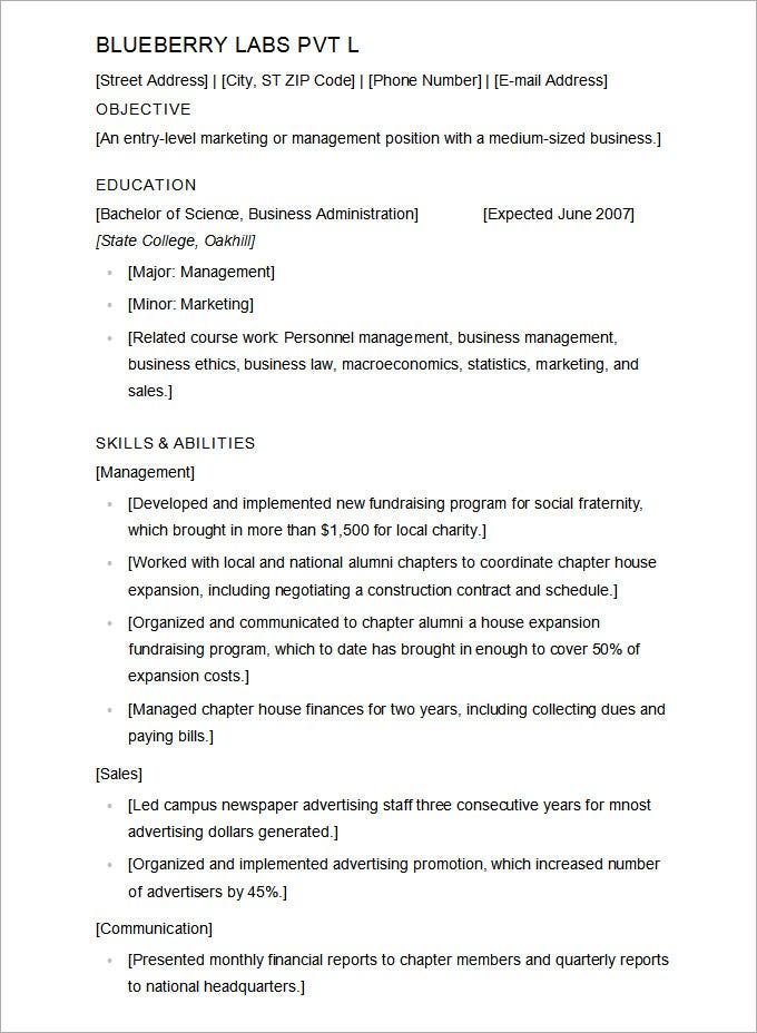 Sample College Resume Template  Free Resume Template Word