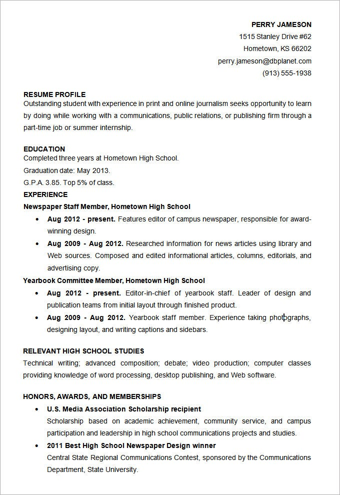 Sample College Resume High School Senior School Resume High Sample
