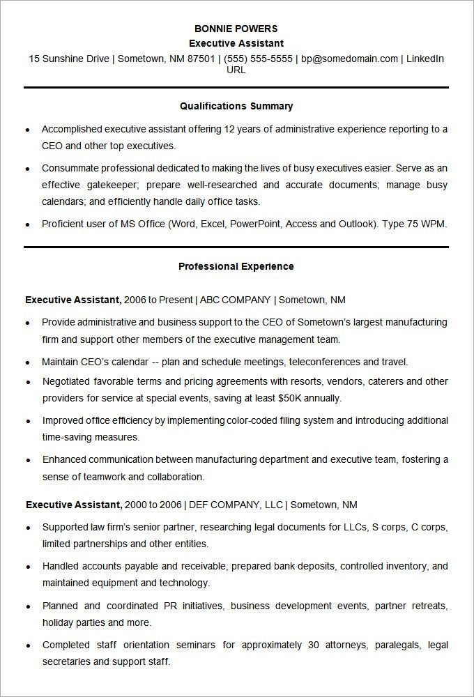 sample resume template for an executive assistant - Sample Resume Microsoft Word
