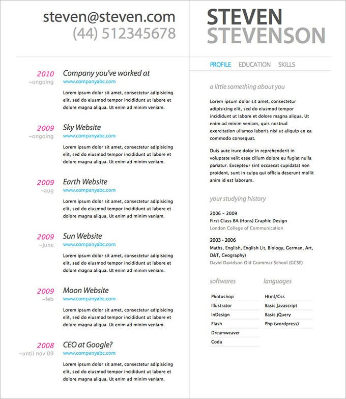 Resume Design Template PSD     11