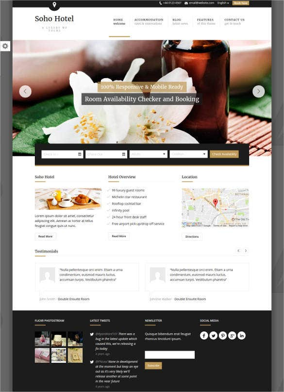 soho hotel wp website template