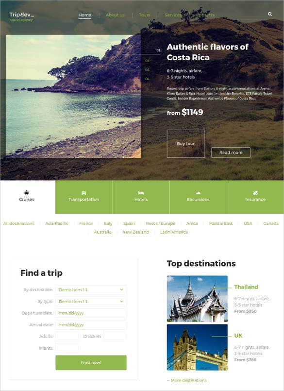 travel agency html website template