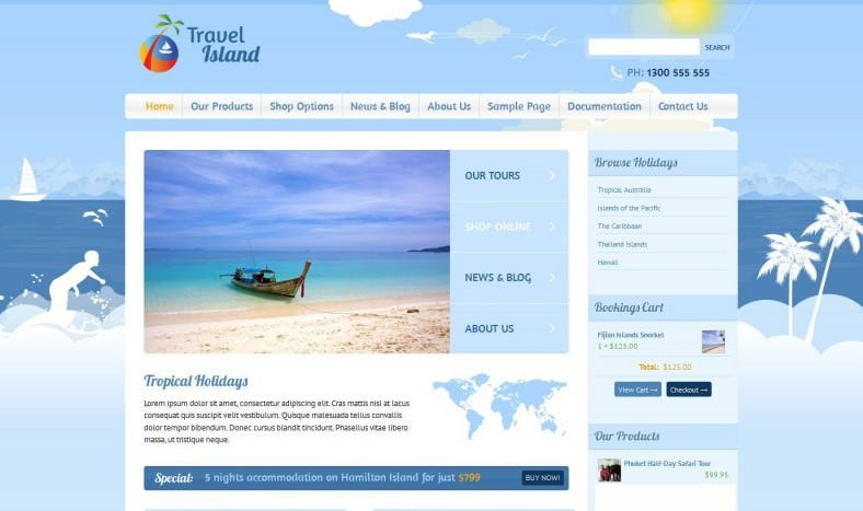 travel island wordpress template 788x467